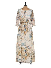 Floral Polyester Maxi Dress - Purys