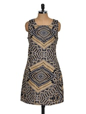 Printed Black And Gold Dress - Purys