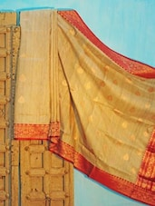 Beige Tussar Silk Saree With Red Border - KAASI