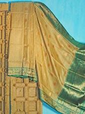 Beige And Dark Green Tussar Silk Saree - KAASI