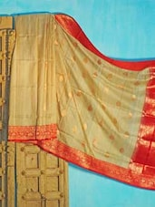Beige And Red Tussar Silk Saree - KAASI