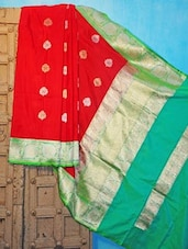 Red And Green Benarsi Silk Saree - KAASI