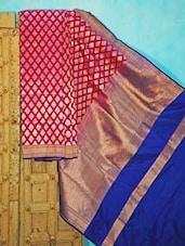 Purple And Blue Benarsi Silk Saree - KAASI