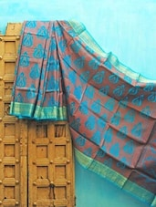 Rust And Blue Benarsi Net Saree - KAASI