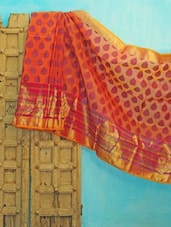 Orange And Pink Benarsi Net Saree - KAASI