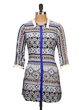 Blue, Black And White Aztec Print Kurta - Yepme