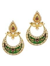 Green And Gold Chaandbali Earrings - OARS