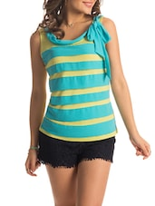 Blue And Lime Green Striped Bow-tie Tee - PrettySecrets