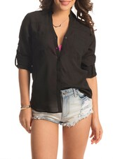 Solid Black Roll-up Sleeved Shirt - PrettySecrets