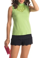 Light Green Turtle Neck Lace Top - PrettySecrets