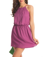 Purple Halter Neck Flared Dress - PrettySecrets