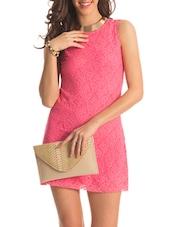 Pink Back Cut Out Lacey Dress - PrettySecrets