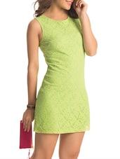 Green Back Cut Out Lacey Dress - PrettySecrets