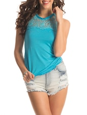 Light Blue Floral Lace Top - PrettySecrets