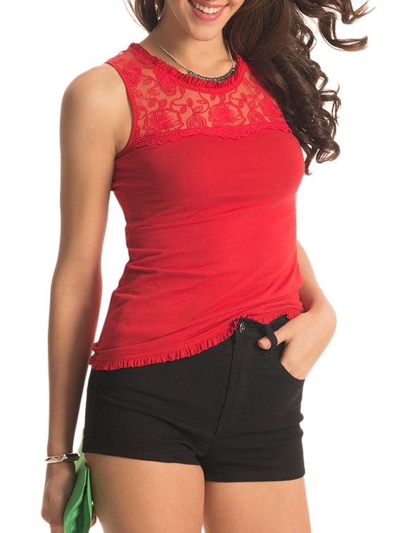 Red Floral Lace Top - PrettySecrets