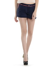 Navy Blue Cotton Shorts With Embroidery - I AM FOR YOU