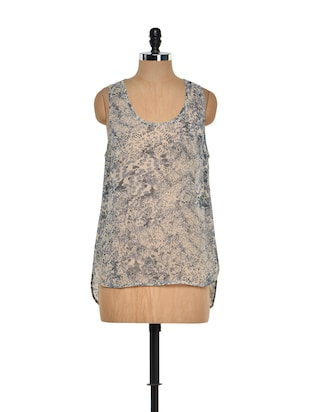 Printed Beige and Grey Sleeveless Top