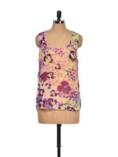Printed Multi-coloured Sleeveless Top - I AM FOR YOU