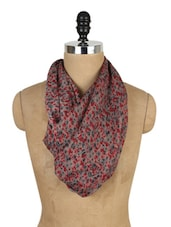 Floral Print Polyester Scarf - J STYLE
