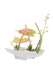 Yellow Lily Flower With Plate Style Ceramic Platter - Fennel