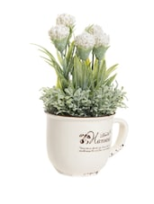 Harvest Cup Style Ceramic Pot With White Marigold Flowers - Fennel