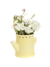Yellow Ceramic Pot With White Rose Flowers - Fennel