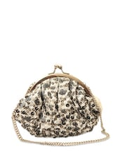 Off-white Sequined Sling Bag - Rediscoverfashions