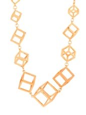 Gold cube link necklace