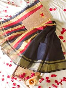 Navy Blue Saree With Striped Aanchal - Cotton Koleksi