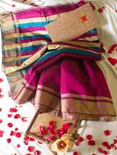 Magenta Saree With Striped Aanchal - Cotton Koleksi