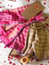 Pink And Beige Handloom Saree - Cotton Koleksi