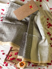 Silver And Grey Saree With Sequins - Cotton Koleksi