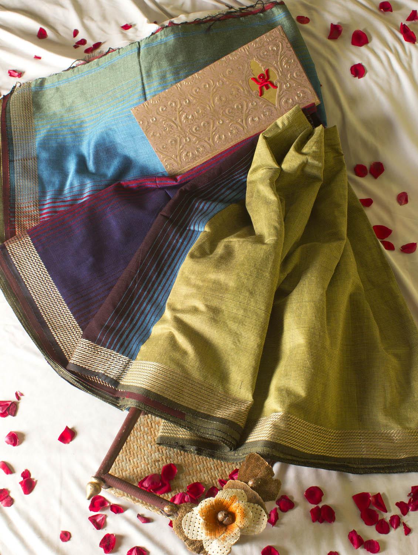 Vibrant Pista Green Saree With Colourful Aanchal - Cotton Koleksi