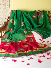 Bright Green And Red Paisley Design Saree - Cotton Koleksi