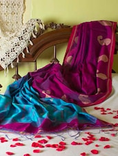 Bright Magenta And Blue Paisley Saree - Cotton Koleksi