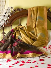 Gold And Black Saree With Sequined Aanchal - Cotton Koleksi