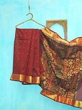Deep Maroon Benarsi Net Saree - KAASI