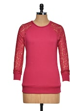 Pink Top With Lace Raglan Sleeves - Femella