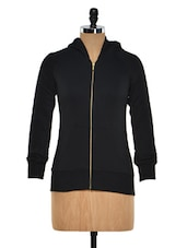 Black Zip Up Fleece Sweatshirt - Femella