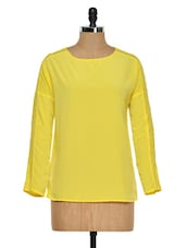 Yellow Top With Lace Sleeve Insert - Femella