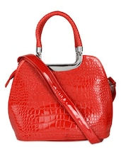 Red Glossy Finish Textured Tote Bag - K22