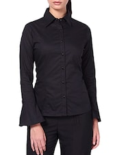 Black Cotton Lycra Tie-up Back Shirt - By