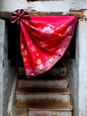 Red Art Silk Brocade Saree - BANARASI STYLE