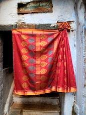 Red Rush Jacquard Saree - BANARASI STYLE