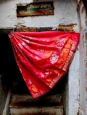 Red Reign Jacquard Saree - BANARASI STYLE