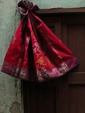 Magenta And Red Jacquard Saree - BANARASI STYLE