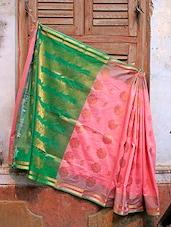 Pink And Green Jacquard Saree - BANARASI STYLE