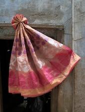 Peach Art Silk Banarasi Saree - BANARASI STYLE