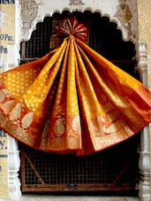 Dark Orange And Gold Banarasi Saree - BANARASI STYLE