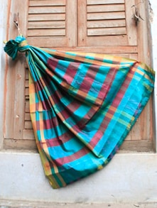 Blue And Maroon Striped Banarasi Saree - BANARASI STYLE